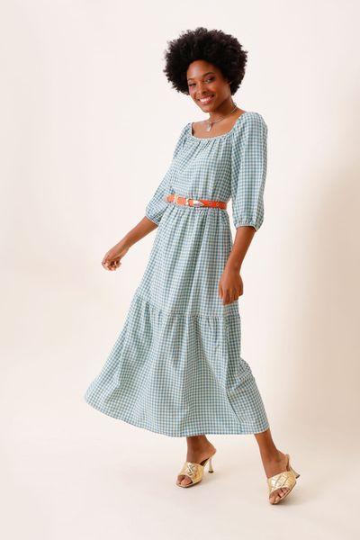 Vestido Midi Amplo Vichy Azul 36