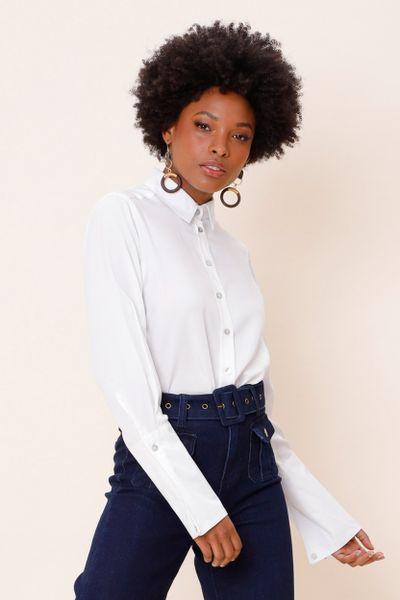 Camisa Alfaiataria Social Alongada Off-white 36