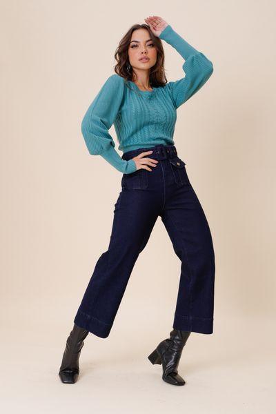 Calça Jeans Cropped Bolso Frente Jeans 36