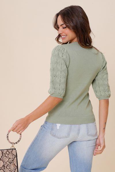 Blusa Tricot Manga  Verde  P