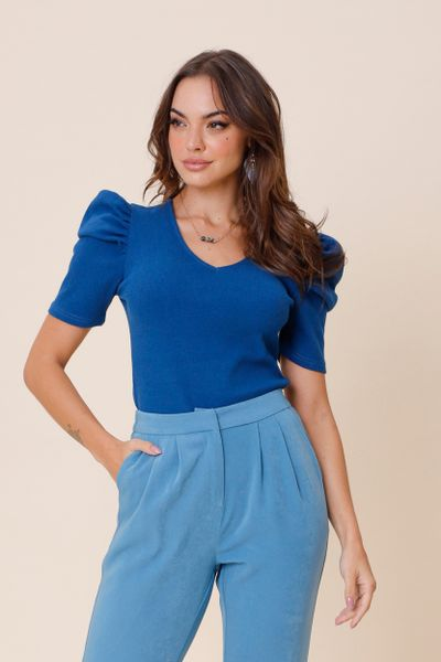 Blusa Canelada Princesa  Azul G