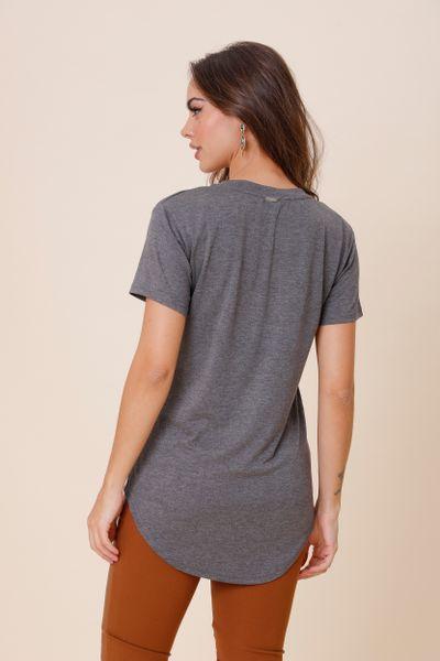 T-Shirt Bordada Decote Mescla P
