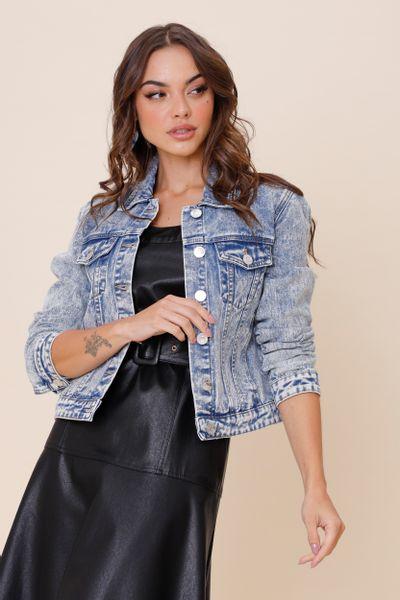 Jaqueta Jeans Marmorizada  Jeans 36