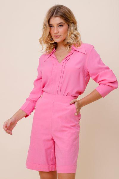 Camisa Viscose Pregas Super Gola Rosa 36
