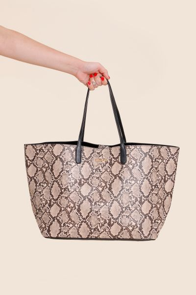 Bolsa Shopping Bag Snake Bege