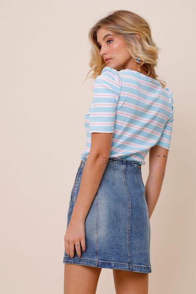 Mini Saia Botões Jeans 36