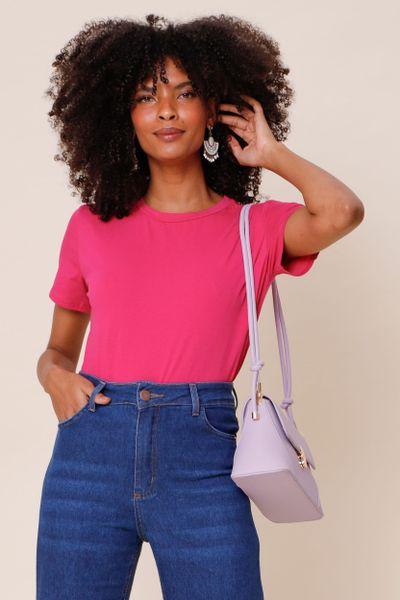 T-Shirt Básica Gola Redonda  Pink M