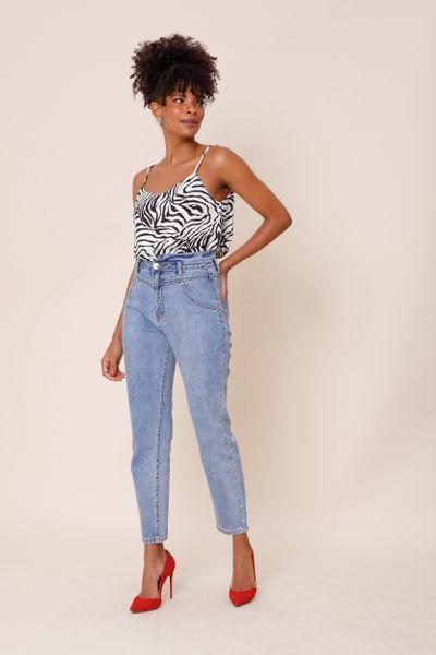 Calça Jeans Cintura Alta Azul 36