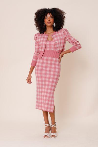 Conjunto Tricot Vichy Rosa blush P