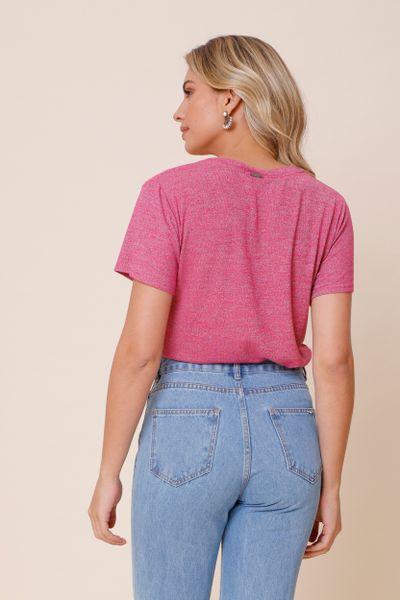 Camiseta Decote V Básica Pink P