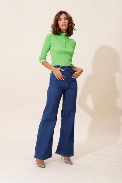 Calça Wide Leg Cintura Alta Stretch Azul índigo 36