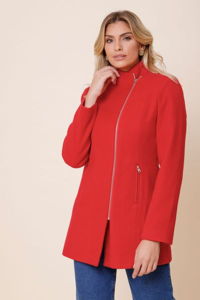 Casaco Lã Acinturado Com Zíper Vermelho 36