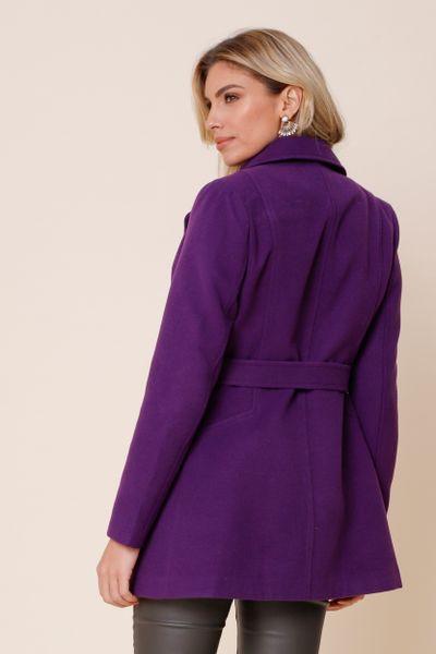 Casaco Lã Com Abotoamento e Cinto Roxo  36