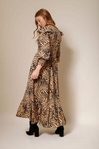 Vestido Longo Amplo Estampa Zebra Camel 36