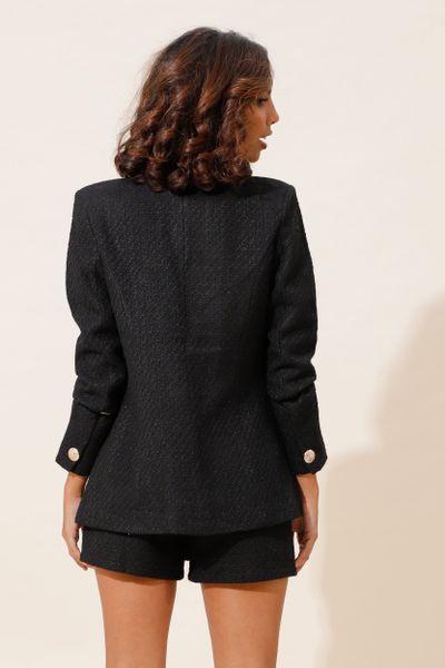 Blazer Tweed Alongado Com Botões  Preto 36
