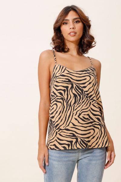 Regata Alcinha Estampada Zebra Camel 40