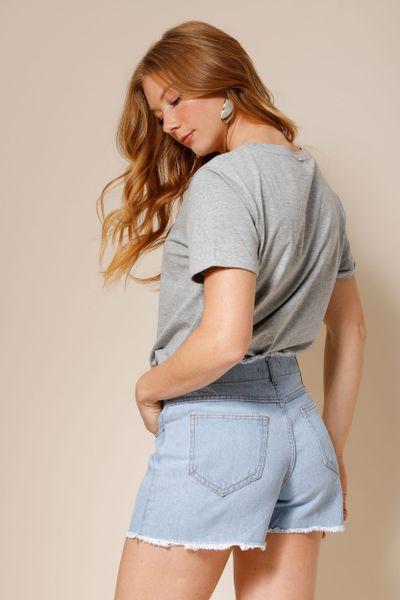 Shorts Jeans Botões Forrados Azul 36