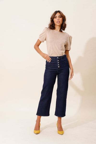 Calça Jeans Pantacourt Trança Azul índigo 36
