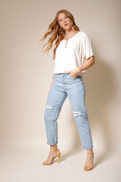 Calça Jeans Reta Cintura Alta Delavê Azul claro  36