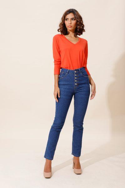 Calça Skinny Jeans Cintura Alta Azul índigo 36