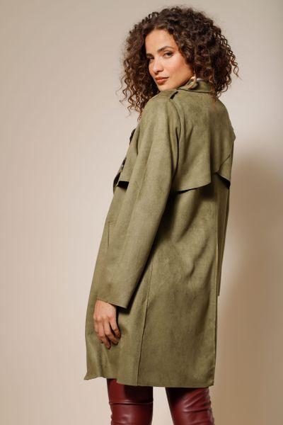 Trench Coat Alongado Suede Verde oliva 36