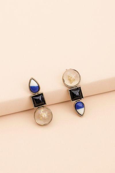 Brinco Tres Formas Pedras Azul