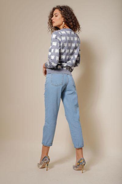 Calça Jeans Cintura Alta Destroyed Azul índigo 36