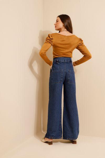 Calça Jeans Pantalona Cintura Alta Azul índigo 36
