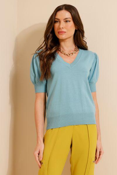 Blusa Tricot Decote V Azul M