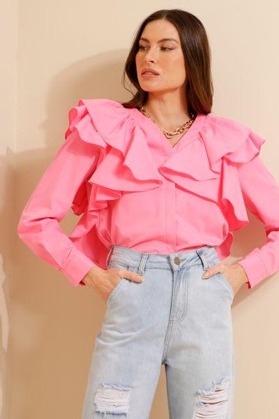 Camisa Tricoline Babados Ombros  Rosa 36
