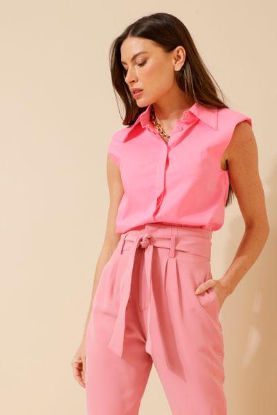 Camisa Tricoline Muscle Sem Manga  Rosa 36