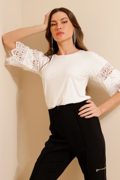 Blusa Malha Com Renda Off-white P