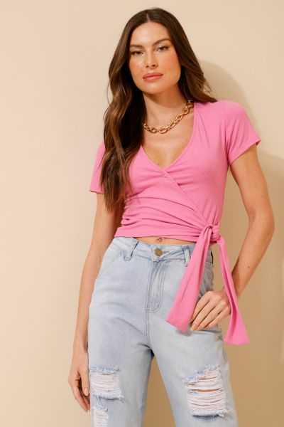 Blusa Canelada Transpasse Rosa P
