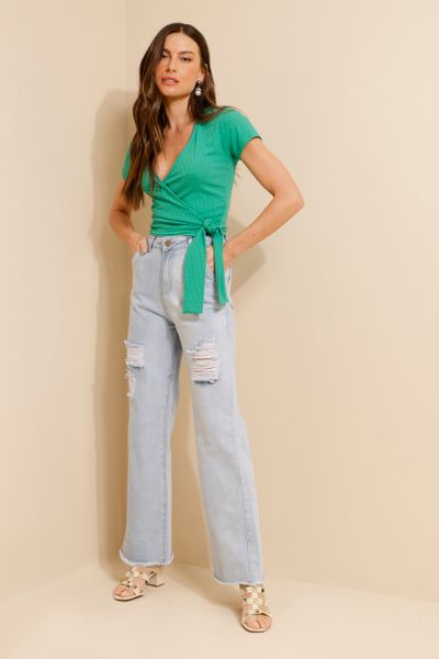 Calça Jeans Delavê Rasgada Wide Leg Azul claro  36