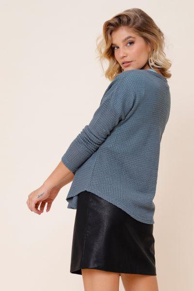 Cardigan Malha Tricot Com Botão  Azul P