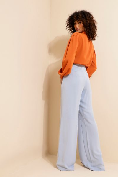 Calça Pantalona Detalhe Cós Azul claro  36