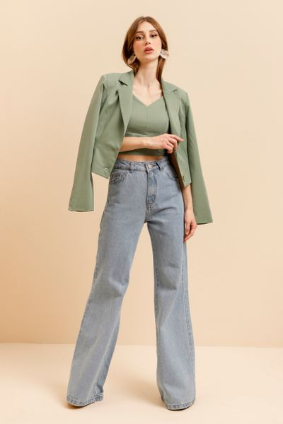 Calça Jeans Cintura Alta Wide Leg Azul índigo 36