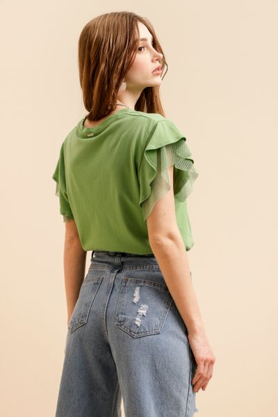 Camiseta Manga Babado Mesh Verde  P
