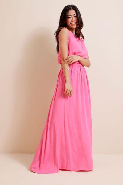 Vestido Longo Fluido  Rosa 36