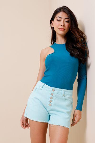 Shorts Sarja Botões Azul 36