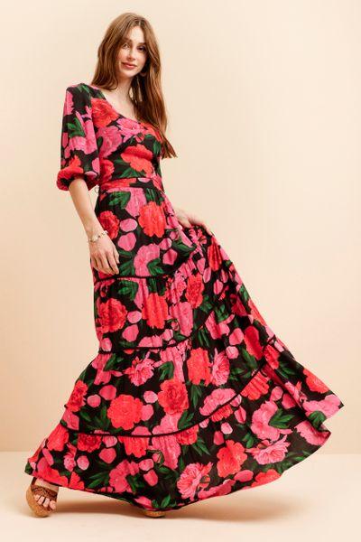 Saia Longa Estampada Roses Preto 36