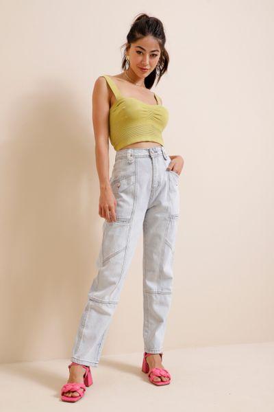 Calça Jeans Reta Recortada Azul claro  36