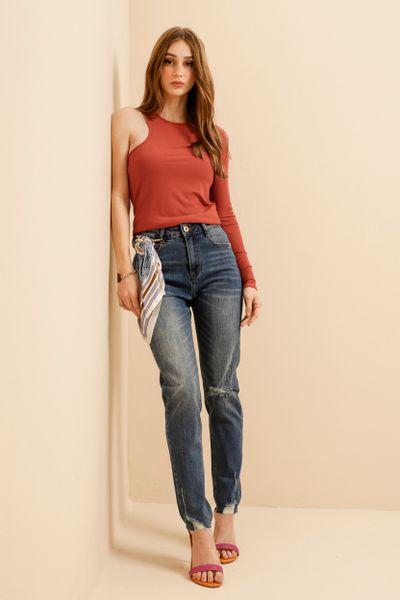 Calça Jeans Reta Com Chaveiro Lenço Azul índigo 36