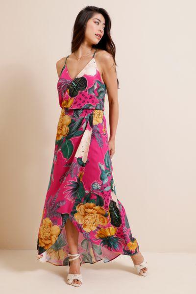 Vestido Midi Envelope Estampado  Pink 36