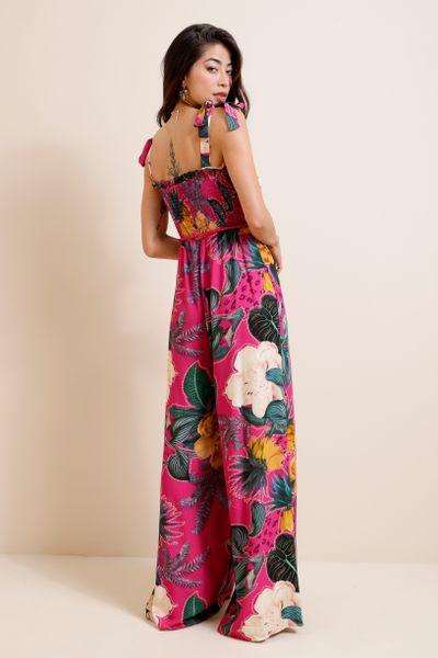 Macacão Wide Leg Top Lastex Estampado  Pink 36