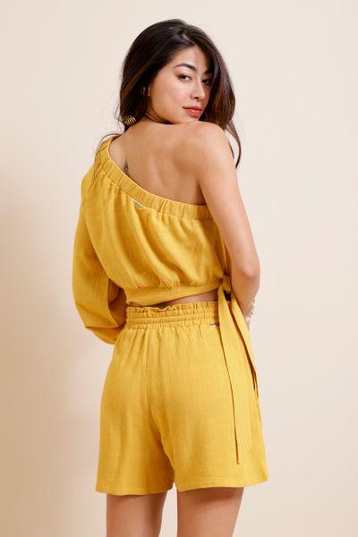 Shorts Soltinho Elástico Cós  Amarelo 36