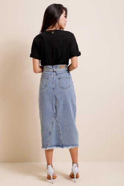 Saia Jeans Midi Fenda Frontal  Azul índigo 36