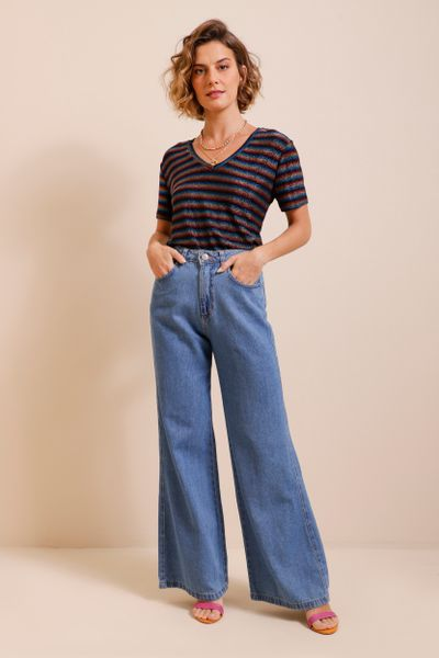Calça Jeans Wide Leg Cintura Alta Azul índigo 36
