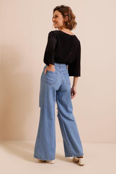 Calça Jeans Wide Leg Rasgos  Azul índigo 36