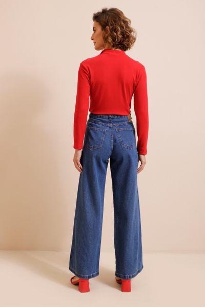 Calça Jeans Wide Leg Com Rasgos Azul índigo 36